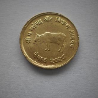 фауна корова монета Непалу країна Непал Азія дуже нечаста монета екзотичної країни відмінний сохран.
