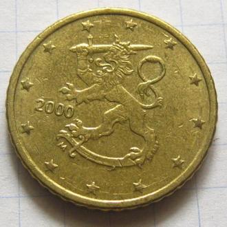 Финляндия_ 50 евро центов 2000 года оригинал
