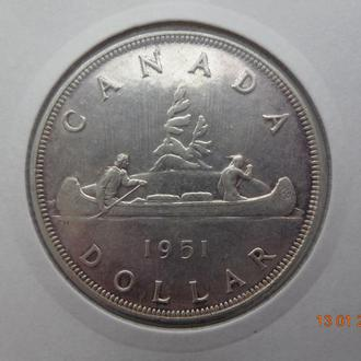 """Канада 1 доллар 1951 George VI """"Voyageur"""" серебро отличное состояние очень редкая"""