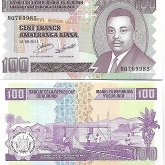 Бурунди, 100 франков, 2011 год UNC Пресс
