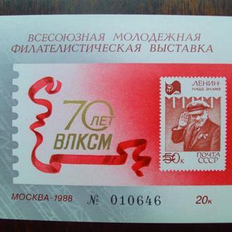 СССР.1988г. 70 лет ВЛКСМ. Сувенирный лист.