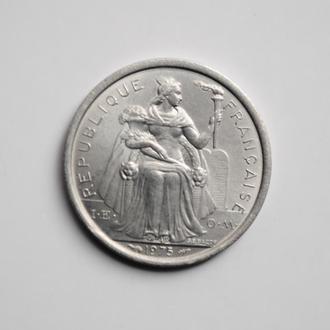 Французская Полинезия 1 франк 1975 г., BU, 'Заморское сообщество Франции (1965-2015)'