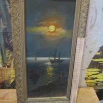 """Старинная картина """"Фелюга в свете луны"""""""