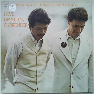 CARLOS SANTANA & MAHAVISHNU JOHN McLAUGHLIN Love Devotion Surrender LP  EX-/EX