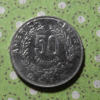 Коста Рика 1990 год монета 50 сентимов !