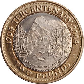 "Гибралтар 2 фунта 2004 г., UNC, ""300 лет захвату Гибралтара"""