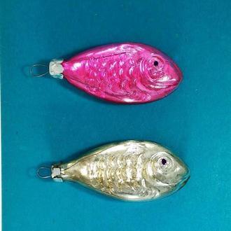 Новогодние елочные игрушки Рыбки двухцветные красивые. Рыбка