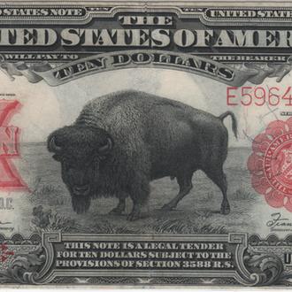 """10 долларов США 1901 г. """" Бизон"""" в XF"""