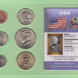 Набор монет США: 13 -й Президент США - Миллард Филлмор - Millard Fillmore- пластик блистер запайка