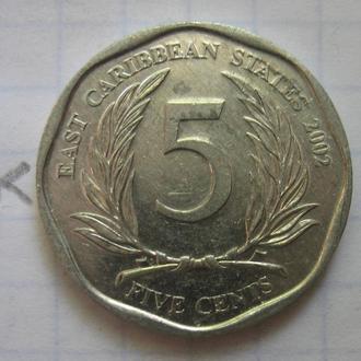 ВОСТОЧНО-КАРИБСКИЕ ГОСУДАРСТВА, 5 центов 2002 года.