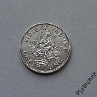 Великобритания 1 шиллинг 1943 серебро  №3СЛ