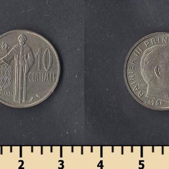 Монако 10 сентимов 1962
