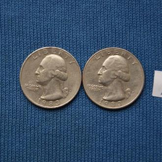 США 25 центов квотер 1983 г  P
