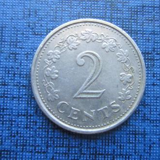 монета 2 цента Мальта 1972