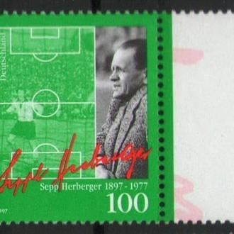 Германия 1997 Футбол Зепп Хербергер футболист тренер серия MNH **