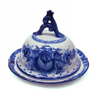 Масленка круглая из керамики роспись гжель 032STS