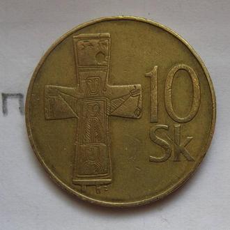 СЛОВАКИЯ, 10 крон 1993 г. (КРЕСТ С РАСПЯТИЕМ).