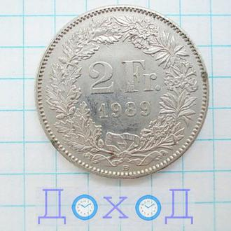 Монета Швейцария 2 Fr франка 1989 немагнит
