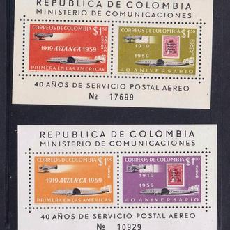 Авиация .  Колумбия 1959 г   MNH -