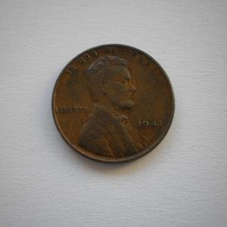1941 рік монета США пшеничний цент 1 цент 1941 год ONE CENT one cent нечаста монета в гарному сохран