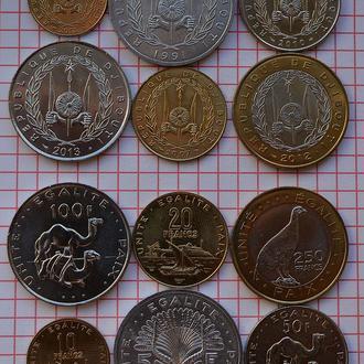Джибути, набор современных монет, 6 шт, анц