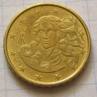 Италия_ 10 евро центов 2012 года оригинал