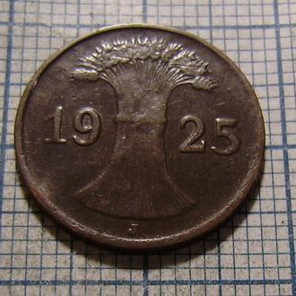 Германия, Веймарская республика, 1 рейхспфенниг 1925 г. (J)