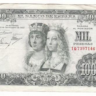 Испания 1000 песет 1957 крупный редкий номинал