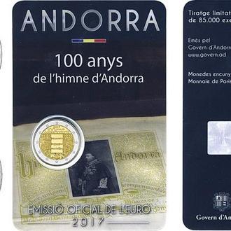 Андорра, 2 евро 2017-2018, 100-летие гимну Андорры
