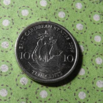 Карибские о. 2009 монета 10 центов Карибы парусник !