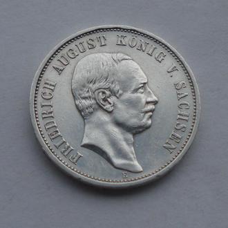 1910 г - 3 марки Германии,Саксония,серебро № 2