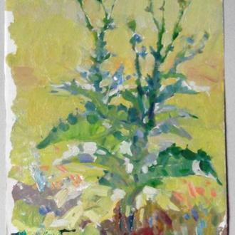 Картина Чортополох 1970х гг. Советское искусство, подписана