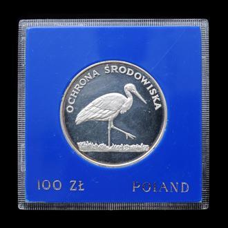 100 Злотых 1982 Цапля,(40) Польша