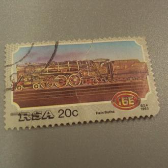 марка Южная Африка RSA 1983 поезд паровоз жд транспорт гаш №1494