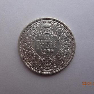 Британская Индия 1/2 рупии 1936C George V серебро СУПЕР состояние редкая
