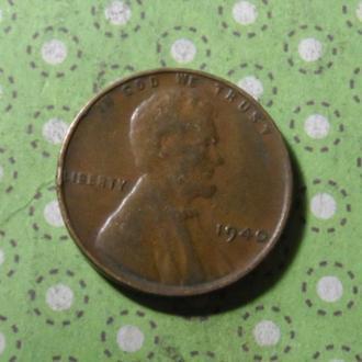 США 1940 год монета 1 цент Америка !
