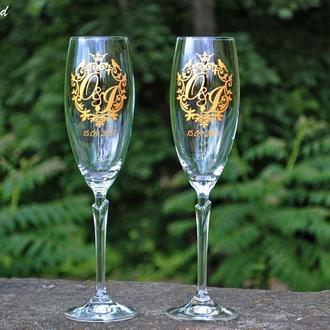 Свадебные бокалы  с гравировкой и заливкой краски цвета золото. Bohemia Lilly.