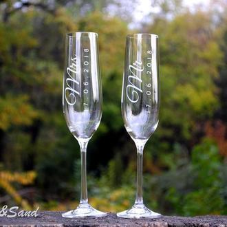 Свадебные бокалы с гравировкой, для шампанского. Bohemia Виола.