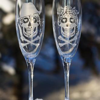 Свадебные бокалы с гравировкой. Для шампанского,модель бокала Luminarc.