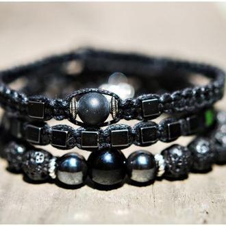 Комплект браслетов натуральные камни