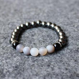 Мужской браслет из натурального камня (гематит, агат, агат морозный)
