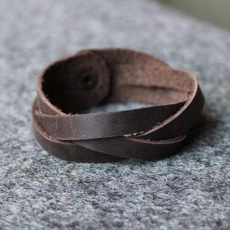 Кожаный браслет Косичка Шоколад