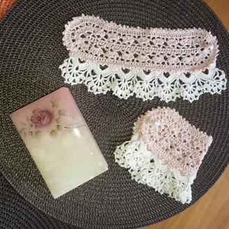 Вязанные кружевные винтажные манжеты