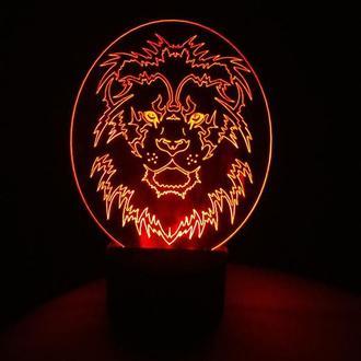 Лев 2 круглый, ночник светильник лампа, подарок мужчине коллеге парню другу, декор