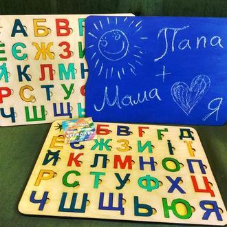 Детская развивающая азбука (Українська абетка) + доска для рисования (с обратной стороны).