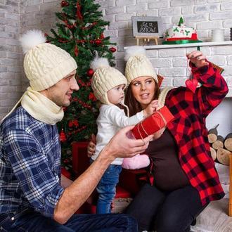 Шапки для всей семьи, фемели лук, набор шапок для семейного фото, шапка для мамы и ребёнка,