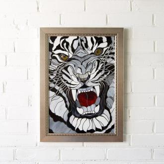 """Картина """" Оскал белого тигра"""" витражное стекло"""