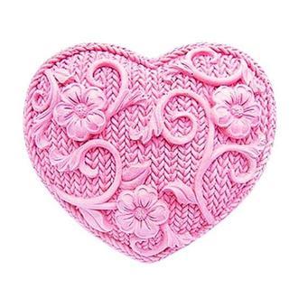 Форма Люкс для мыла силиконовая Вязаное сердце 2D