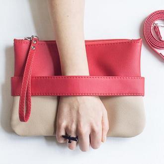 """Красный клатч - сумочка через плечо """"CarryMe"""". Эко кожа"""