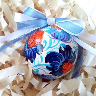 Новогодняя игрушка, елочный шар с росписью